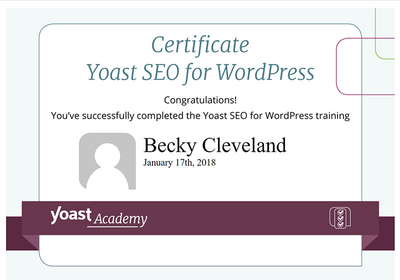 Yoast SEO Certification Accomplished Becky Cleveland Web Design